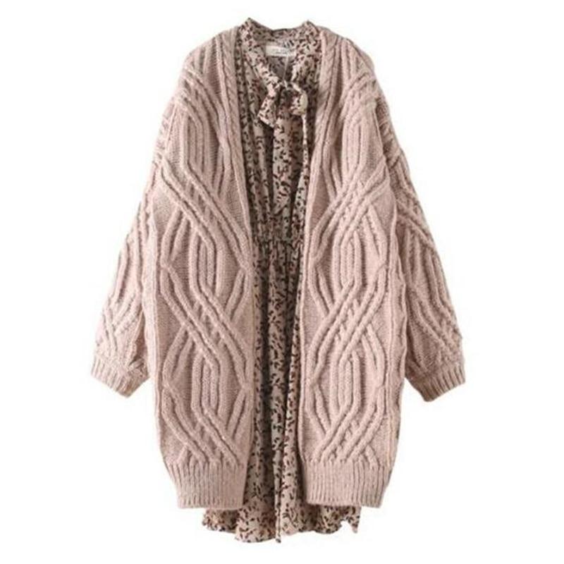 Sweater Tejidos caqui Mujer Tamaño Más Beige Larga Moda 2018 Militar  Suéteres Cardigans Invierno Mujeres Otoño ... 0668fa563e76
