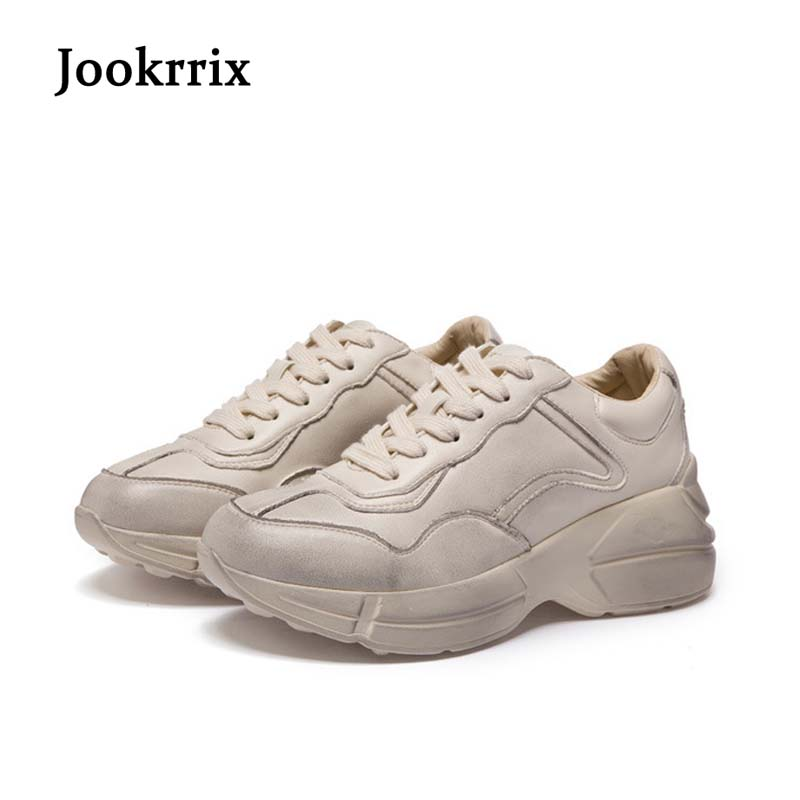 Jookrrix New Arrival Spring Fashion Lady Casual White Shoes Women Sneaker Beige Leisure Shoe Real Leather Soft Cross-tied Black недорго, оригинальная цена