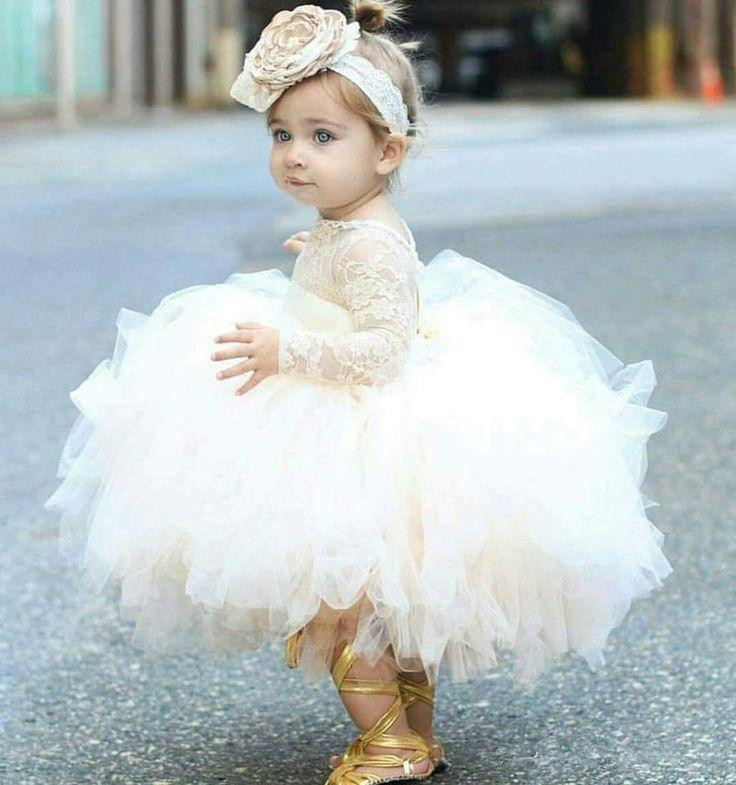 Baby 2019   Flower     Girl     Dresses   For Weddings Ball Gown Lon Sleeves Tulle Lace Ruffle Long First Communion   Dresses   For Little   Girls