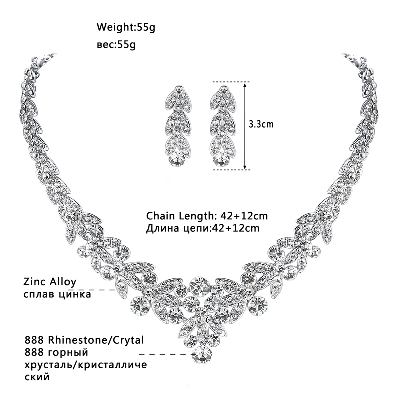 Minlover Luksuzni srebrni barvni kristalni nakit za poročne obleke - Modni nakit - Fotografija 3