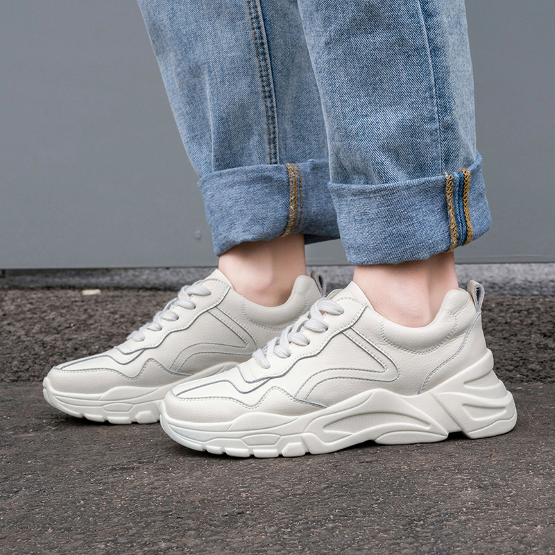 Karinluna INS Hot Style Chunky Sneakers Shoes Woman Lace Up Casual Spring White Genuine Leather Cow Leather Sneaker Woman Shoes