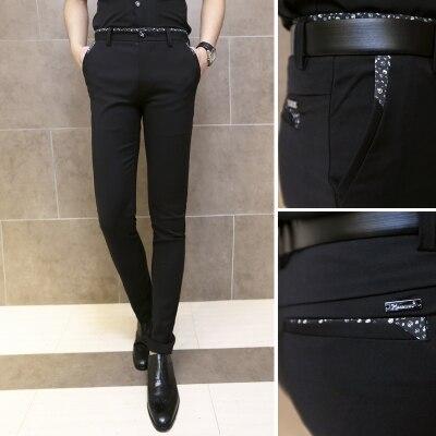 2016 Men Pants Skinny Suit Trousers Black Casual Slim Fit Calca ...