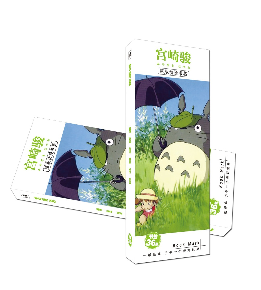 36 Pcs/Set Hayao Miyazaki  Paper Bookmark Stationery Bookmarks Book Holder Message Card Gift Stationery