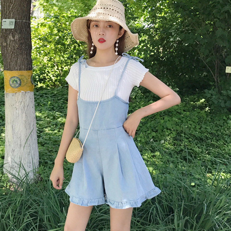 BARGAIN HUNTERS Store 2017 Denim Overalls Women New Hot Womens Playsuit Korean Style Loose Wide Leg Females Cute Sweet Casual Romper Female Playsuits
