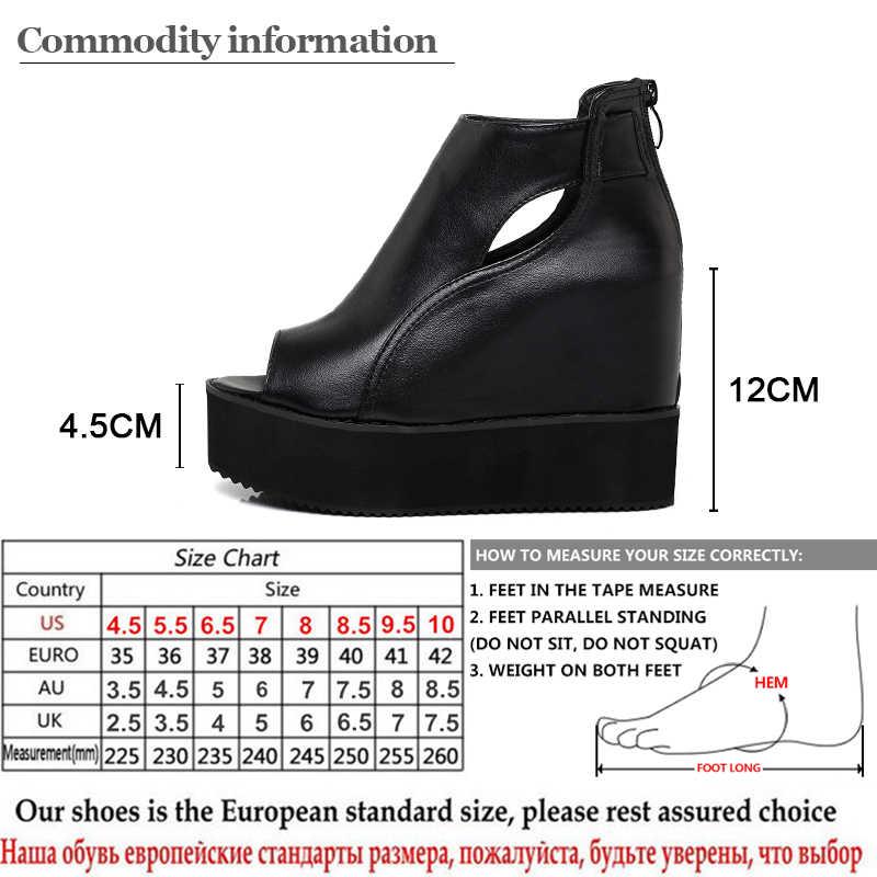 Gdgydh Burnu açık yarım çizmeler Kadınlar Için Takozlar Ayakkabı 2019 İlkbahar Yaz Ayakkabı Kadın Rahat Yumuşak Deri siyah çizmeler Rahat