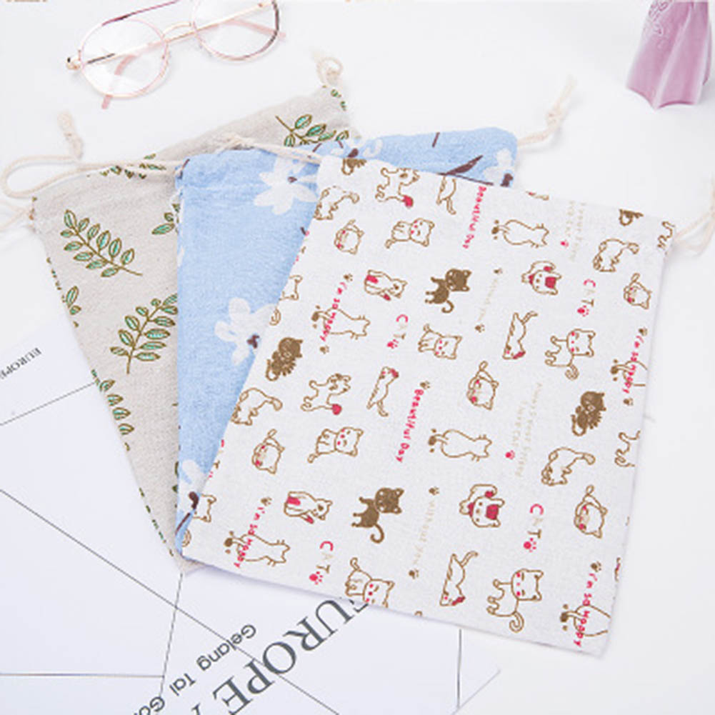 1Pcs Cotton & Linen Drawstring Pouches Holder Gift Travel Case For Large Capacity Jewelry Underwear Organizer Storage Bag
