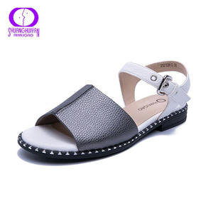 Leather Flat Sandals Comfortable Heels Women Ladies Shoes