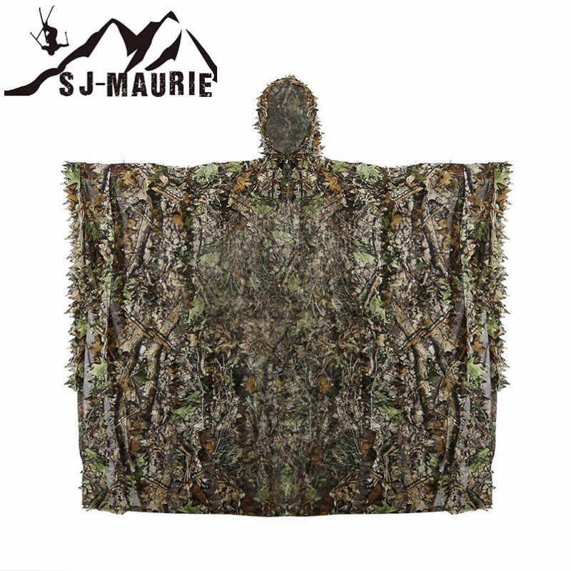 SJ-Maurie Высокое качество 3D листья ghillie Костюмы камуфляж пончо плащ Охота камуфляж, лесная местность лес Снайпер комплект джунгли