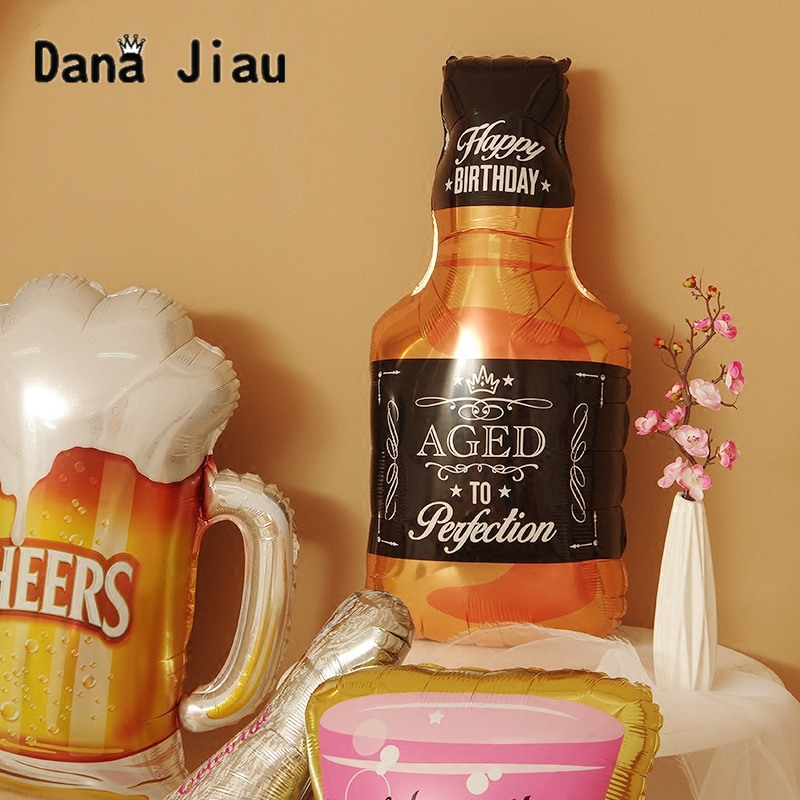 Dana jiau champagne wine cup Whiskey Bottle Balloon 30 years old Happy Birthday Party Decor Aged To Perfection gold king crown  1