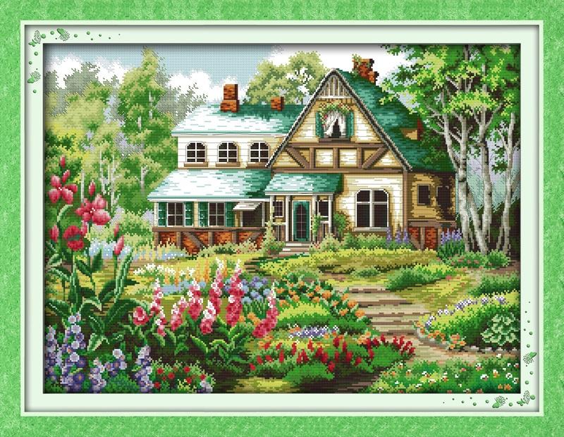 Paquetes de punto de cruz de la casa pausado 11CT Impreso 14CT - Artes, artesanía y costura