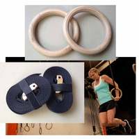 Free Shipping Wooden 28mm Exercise Fitness Gymnastic Rings Gym Exercise Crossfit Pull Ups Muscle Ups