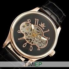 SEWOR Rose Gold Stainless Steel Steampunk wristwatch White Skeleton Men s Mechanical Watch