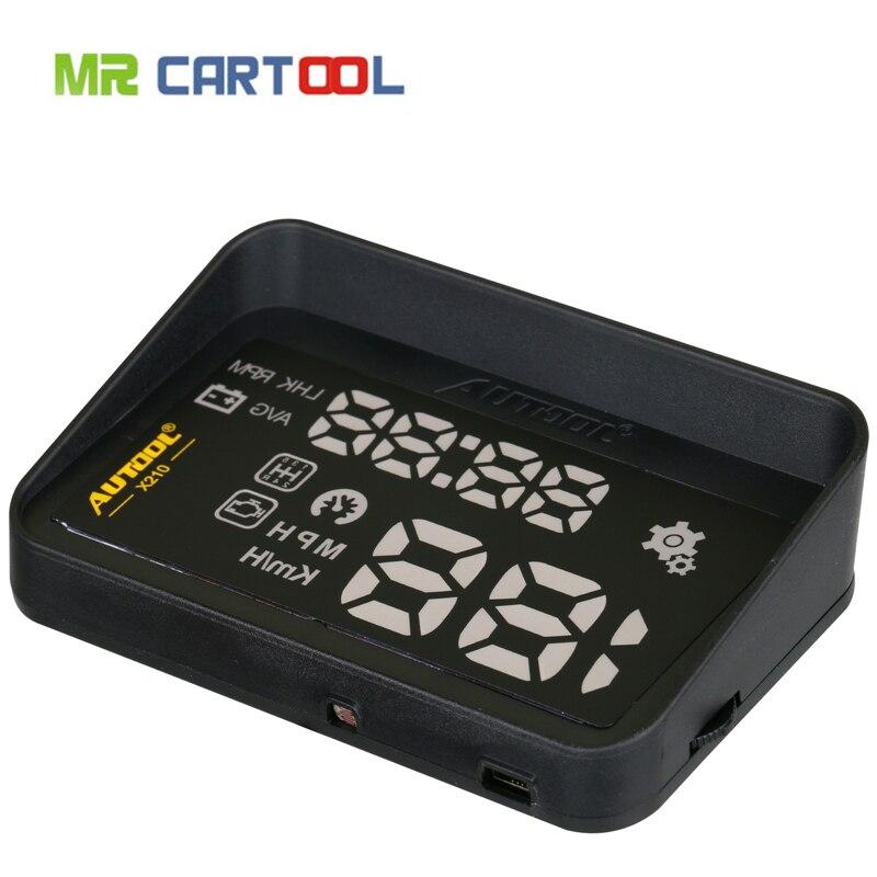 El más nuevo estilo de coche AUTOOL X210 coche Universal HUD head up display velocímetro de coche de exceso de velocidad MPH/KM/h alarma velocímetro 0-200 KM
