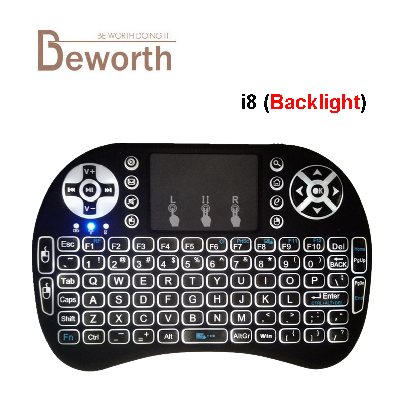 Backlight Russian Hebrew Keyboard i8+ 2.4Ghz Mini Wireless Keyboard Fly Air Mouse Backlit Gaming Touchpad for Android TV Box new ru for lenovo u330p u330 russian laptop keyboard with case palmrest touchpad black
