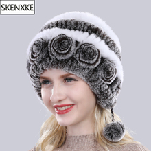 Hot Sale Women Winter Knitted Real Rex Rabbit Fur Hat Natural Warm Rex Rabbit Fur Hats Russia Lady Quality 100% Genuine Fur Caps