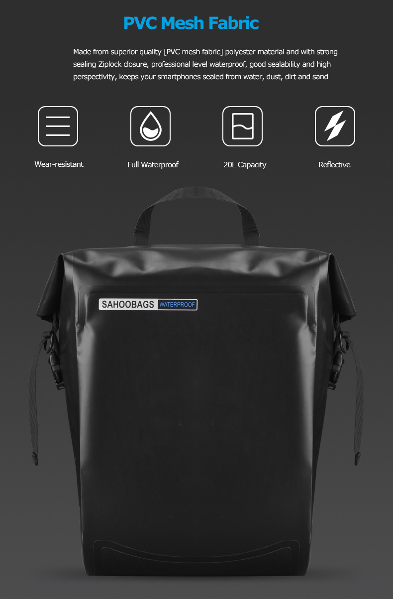 Discount Sahoo 141364-SA 20L Full Waterproof Dry Mountain Road Bike Bicycle Cycling Pannier Bag Back Rear Seat Trunk Bag Rack Pack 1