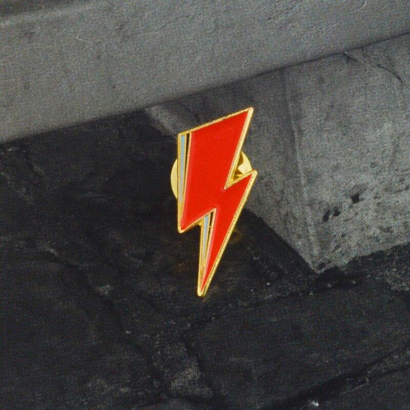 Aladdin Sane Lightning Bolt Enamel Pin David Bowie inspired Red lightning Brooch for Women Men Lapel Pin Jewelry 6