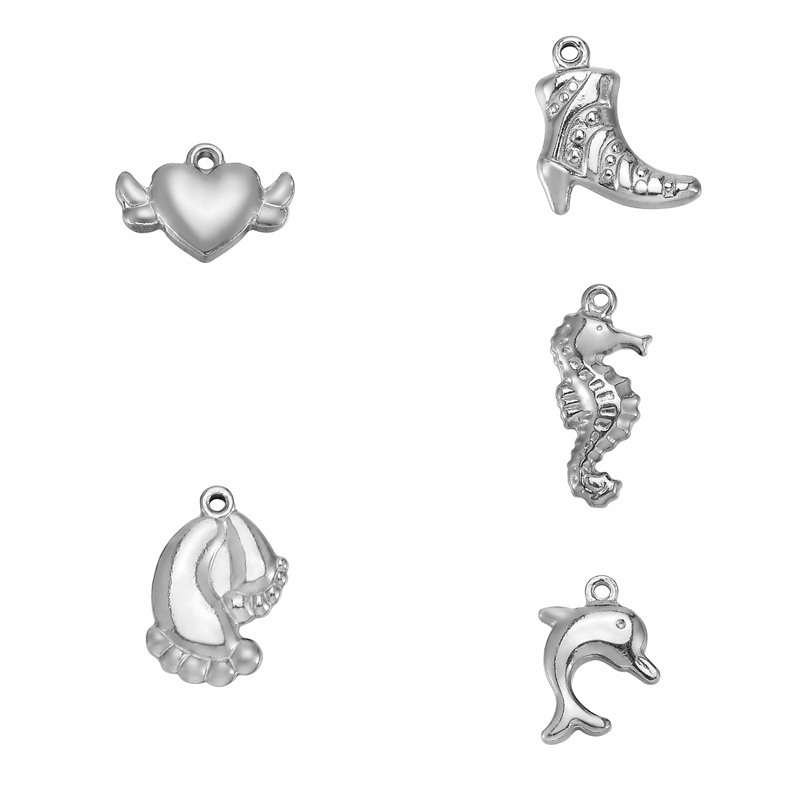 LASPERAL 10PC Stainless Steel Heart Sea Horse Charms For Jewelry Making Hand Made Craft Necklace Bracelet DIY Cute Animal Charm
