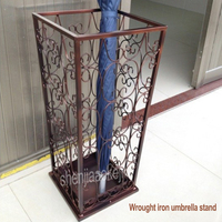 European type Wrought iron umbrella stand home storage square bucket umbrella umbrella barrel vintage creative umbrella rack 1pc