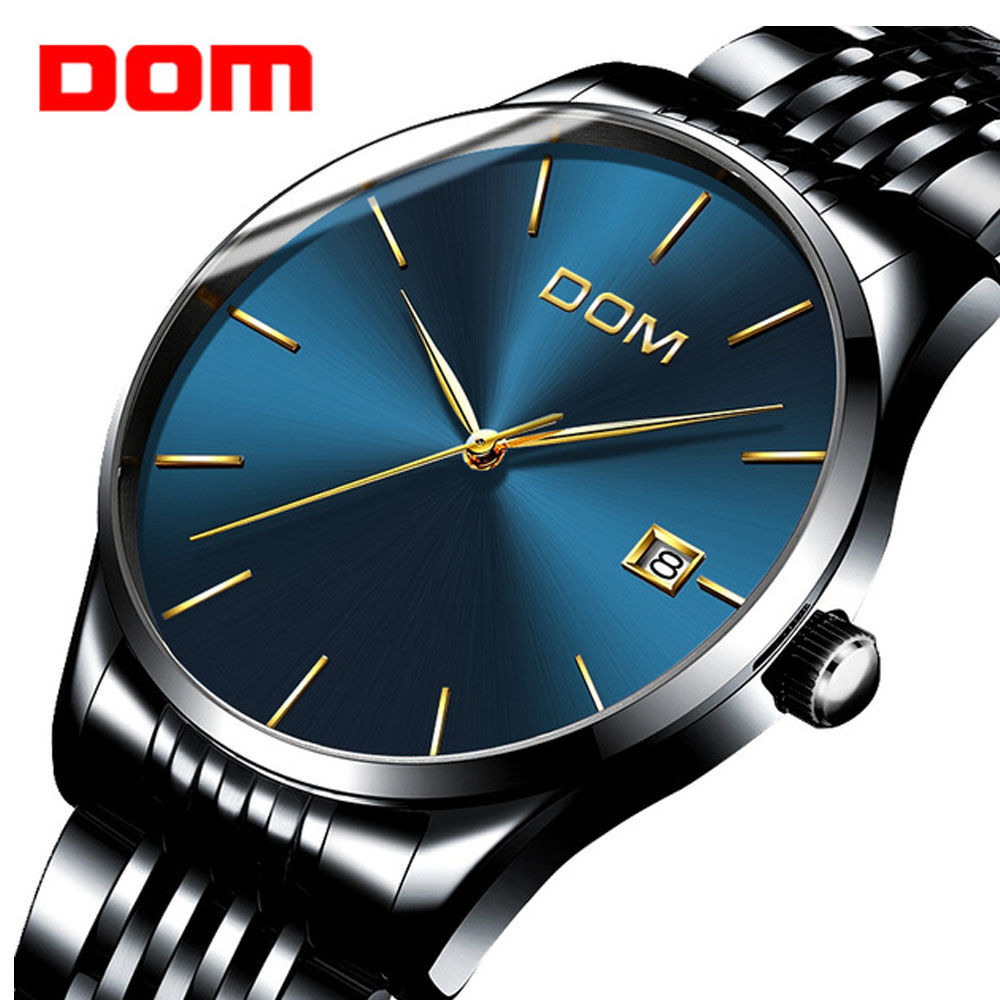 DOM Women Men Watch 7mm Ultra Thin Top Brand Luxury Calendar Steel Business Quartz Wristwatch Fashion Casual Relogios Masculino dom men watch top luxury quartz analog clock leather steel strap watch complete calendar waterproof watch man relogios masculino