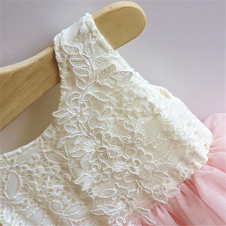 2016 Baby Girls Crochet Lace Tulle Dresses Kids Gir Princess Tutu