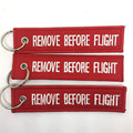 1 PC New Remove Before Flight Canvas Special Luggage Tag Embroidery Keychain Label Key Chain Zipper Pull Keyring