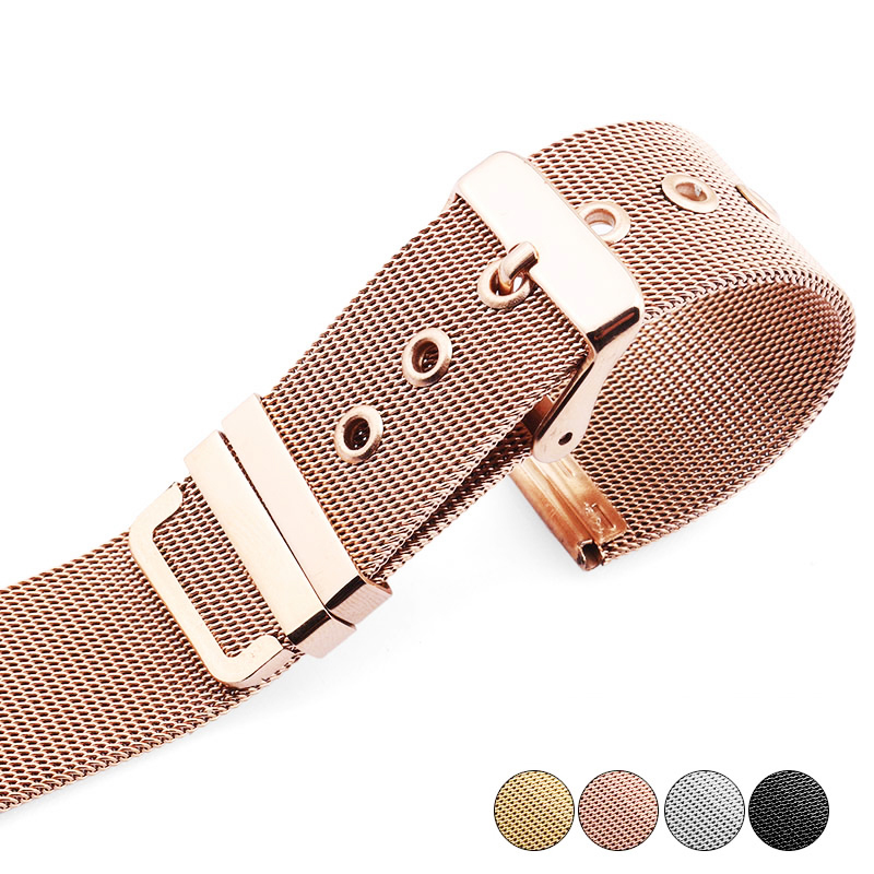High Quality 14mm 16mm 18mm 20mm 22mm  Watchband rose gold stainless steel mesh thin for quartz watches Bracelets new 16mm 20mm silver gold metal stainless steel watchband bands strap bracelets for brands watches men high quality accessories