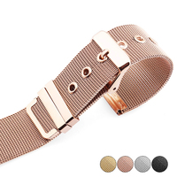 High Quality 14mm 16mm 18mm 20mm 22mm Watchband Rose Gold Stainless Steel Mesh Thin For