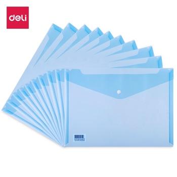 цена Deli 10pcs/set A4 File Folder Bag Durable Waterproof Paper File Document Folder Bag Office File Filing Product онлайн в 2017 году