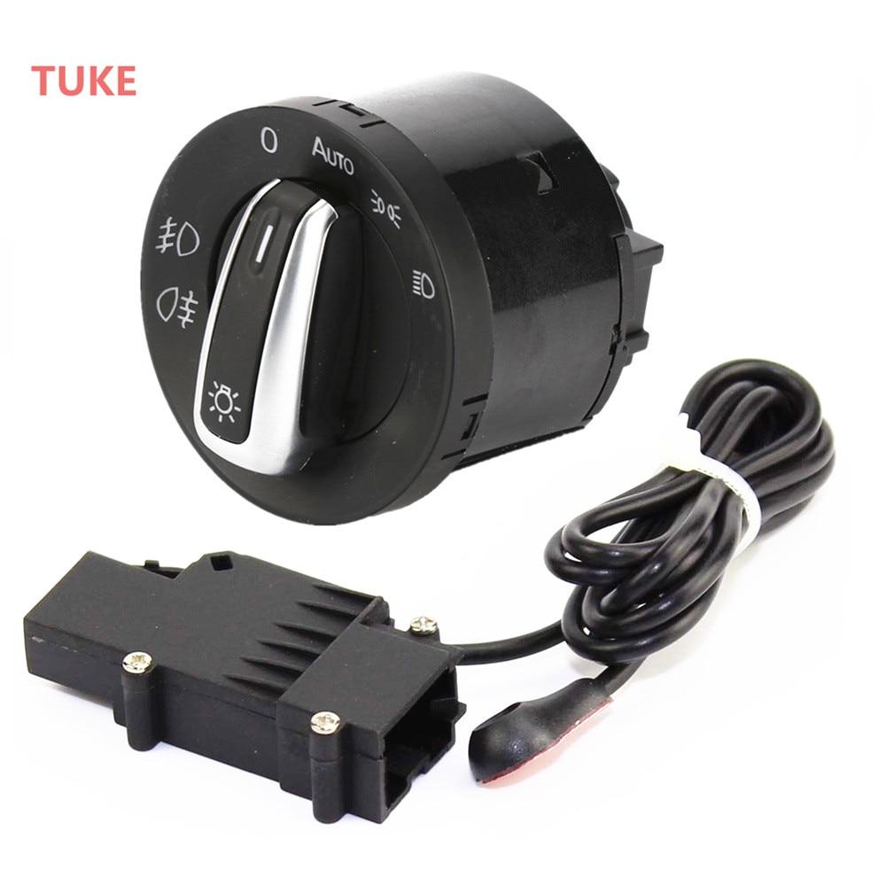 TUKE 2 Pcs Chrome Phare Switch & Capteur Module Pour VW GOLF MK5 6 JETTA 5 PASSAT TIGUAN CADDY TOURAN 5ND 941 431 B 5ND941431B