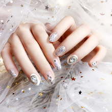 24Pcs Wedding Fake Nails Oval Short Artificial Nail Tips Diamond Glitter Decor Phototherapy Full Cover False Nails Faux Ongles