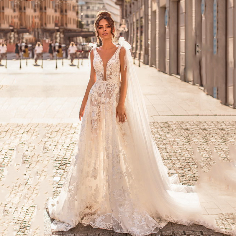 Smileven A Line Wedding Dress 2019 Appliqued Lace Bride Dresses Vestido De Novia V Neck Butterfly Wedding Gown Robe De Mariee