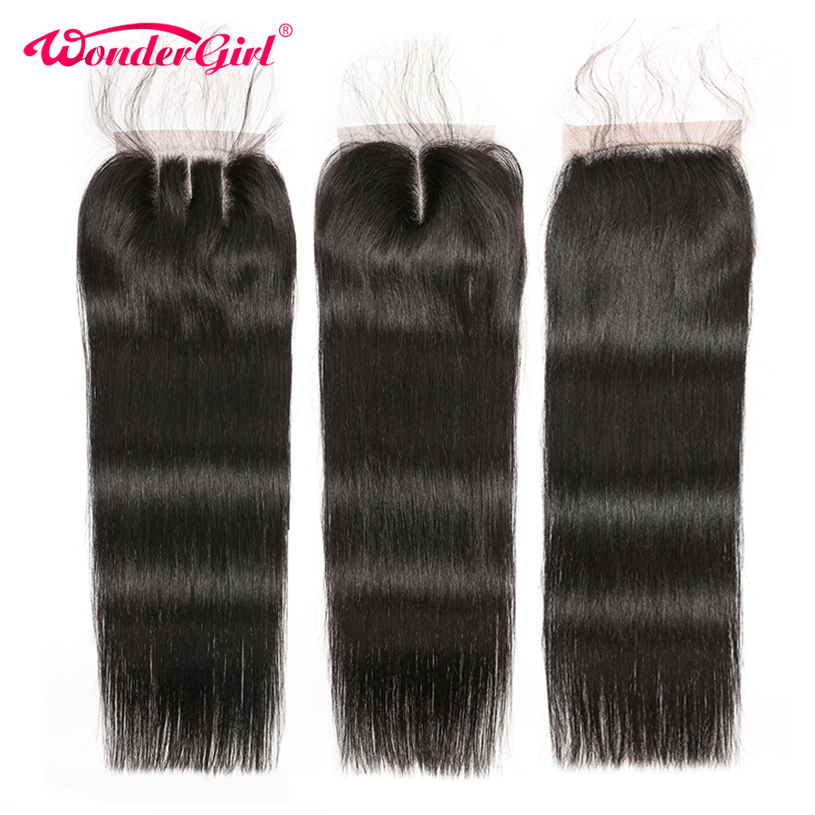 Wonder girl Brazilian Straight Closure 4x4 Lace Closure With Baby Hair No Shedding Remy Hair 100