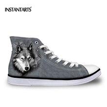 INSTANTARTS Animal Wolf Print Men's Canvas Shoes Men Boy Vulcanize Shoes Gray Black White Classic High Top Shoes Big Size 37-45