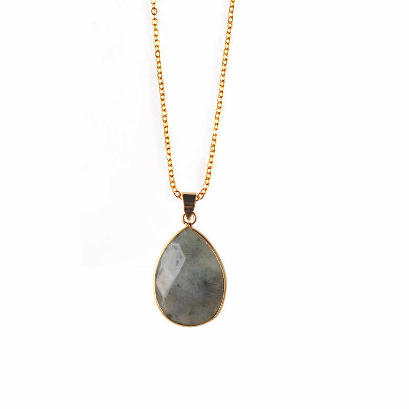 Fashion Jewelry Natural Stone NecklacesTear Drop Crystal  Pendant Necklace Statement Collier