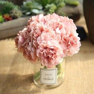 1 bunch artificial 5 head plant artificial peony bouquet silk hydrangea cheap flower wedding hand holding home decoration fake f