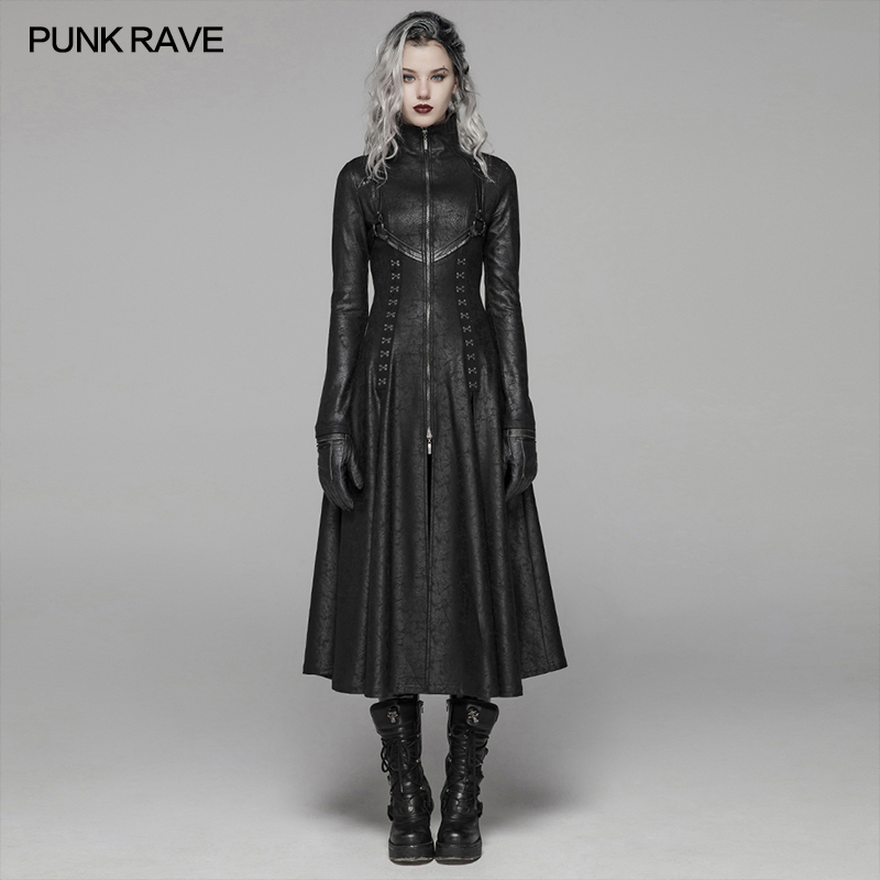 PUNK RAVE Women's Dark Punk Front Zipper Stand Collar Maxi Overcoat Goth Stage Performance Cosplay Womens   Trench   Long Coats