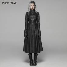 PUNK RAVE Women's Dark Punk Front Zipper Stand Collar Maxi Overcoat Goth Stage Performance Cosplay W