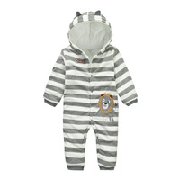 2017 Newborn Baby Boys Rompers Long Sleeve Toddler Clothes Striped Hooded Soft Thicker Cotton Infantil Costume
