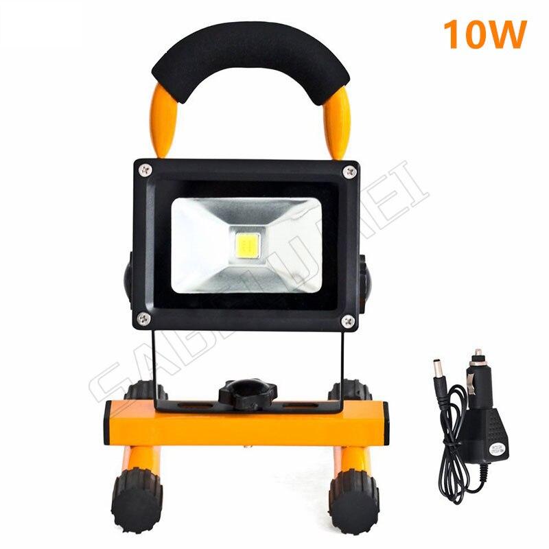 Livraison gratuite a mené l'éclairage d'inondation rechargeable Led d'urgence lampe Projecteur Portatif alimenté par batterie étanche en plein air 10 w led s