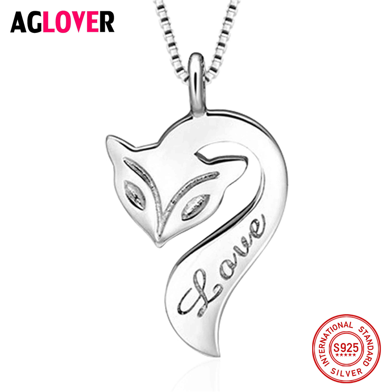 Original Design Solid 925 Pure Silver Romantic Cute Love Fire Fox Animal Pendant Necklace Fashion Charm Jewelry High Quality in Necklaces from Jewelry Accessories