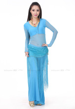 2016  The new Innerwrinkling + exercise pants +fringed towel Indian dance practice clothes suit three-piece belly dance costumes