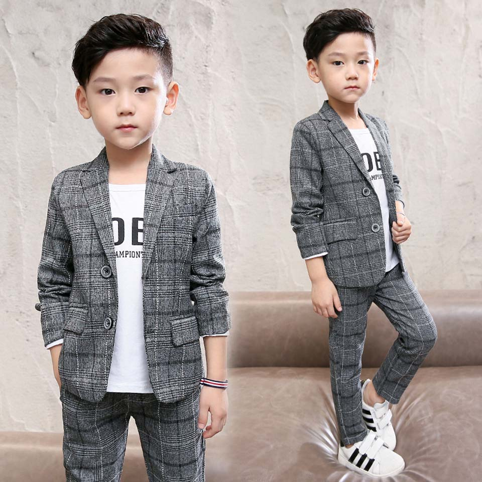 2018 Boys Formal School Suits for Weddings Brand Kids Party Tuxedos Boys Gentlemen Birhtday Blazer Pants 2 PCS Costume