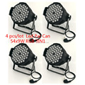(4pcs) 54x9W RGB 3-in-1 mixture colors LED Stage Par Can Light for DJ Party Family