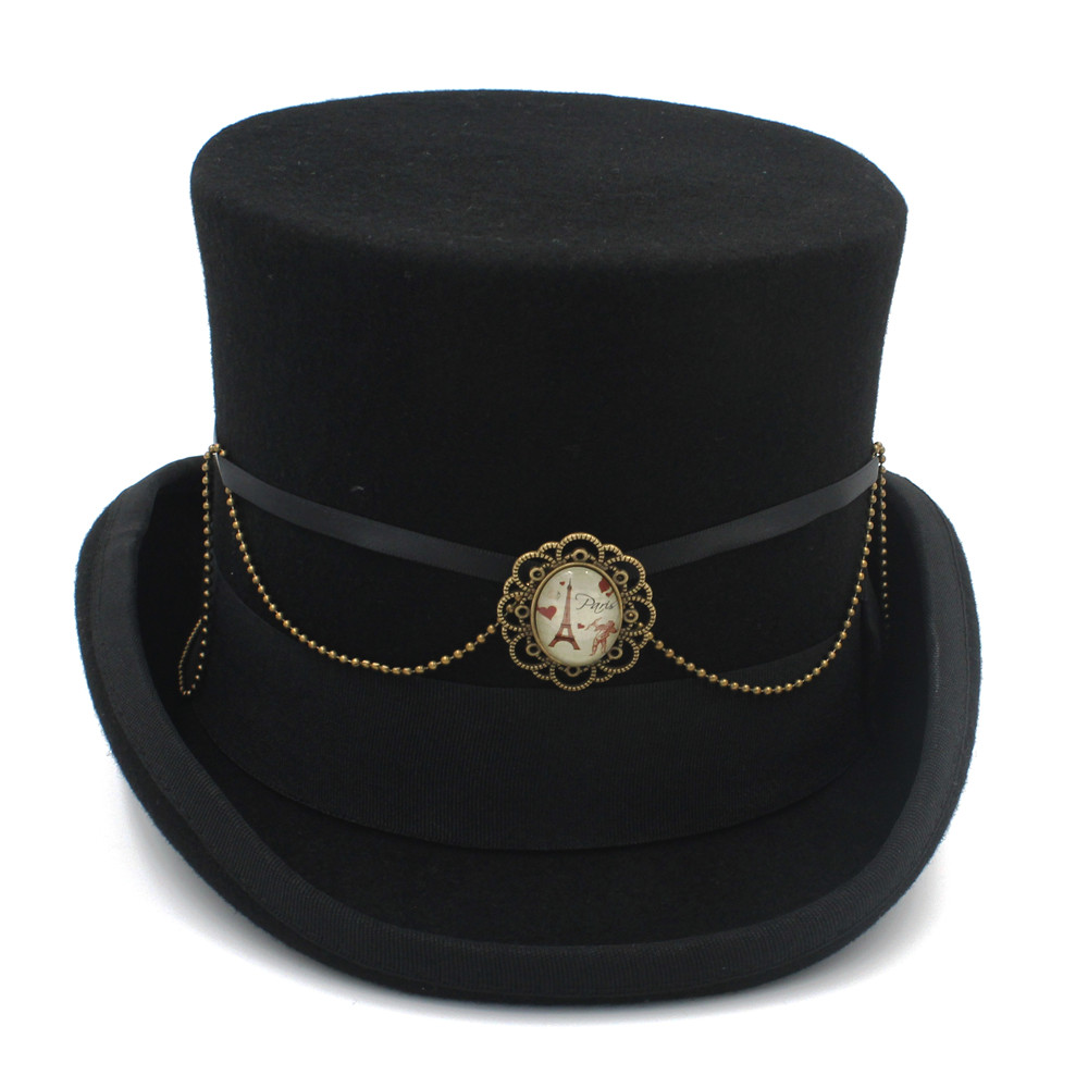 Black Steampunk English Style Top Hat with Leather Band and Gears