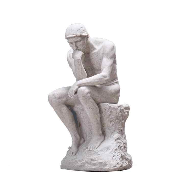 Rodin Il Pensatore Statua Fine Art Scultura Nudo Maschile Figura Reale Polvere di Resina Cast/Camera Decorazione Della Casa