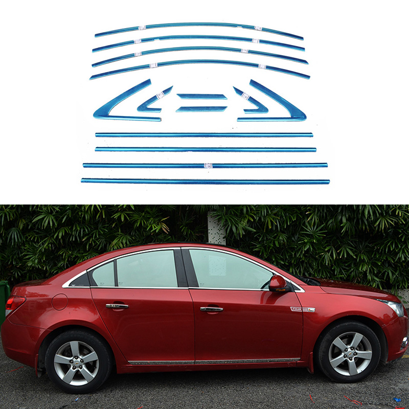 Stainless Steel Car Styling Full Window Trim Decoration Strips For Chevrolet Cruze 2010 2011 2012 2013 2014 OEM-14 car styling stainless steel center control panel switch cover decoration for audi a4 b9 q5 8r 2009 2010 2014 2015 car styling