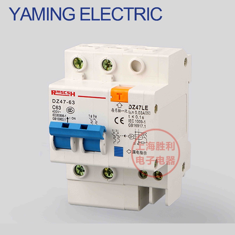 P163 DZ47LE 2P 6-63A Two phase wire electric shock switch leakage protection Residual current Circuit breaker idpna vigi dpnl rcbo 6a 32a 25a 20a 16a 10a 18mm 230v 30ma residual current circuit breaker leakage protection mcb a9d91620