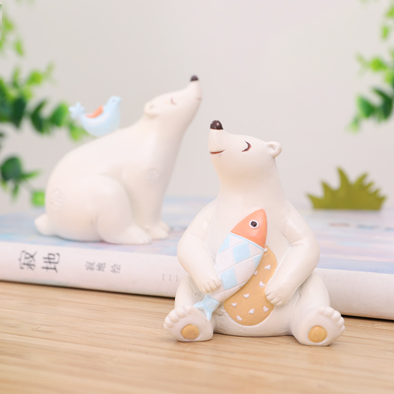 Creative Animal Polar Bear Resin Miniatures Animals Figurins Micro Landscape Decoration Bonsai Ornaments Home Garden Supplies