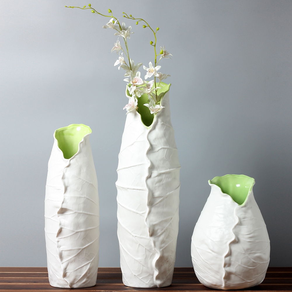 Ceramic lotus leaf fashion creative abstract flower vase pot home decor craft room decoration - Great decorative flower vase designs ...